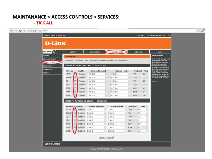 MAINTANANCE > ACCESS CONTROLS > SERVICES: