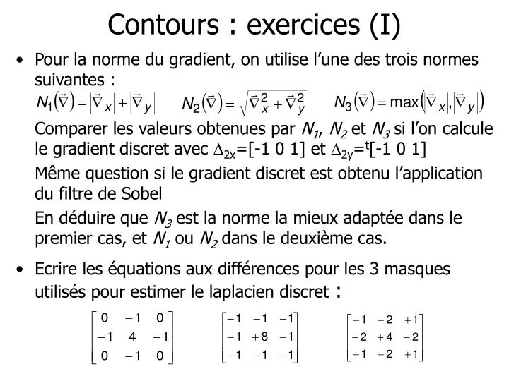 Contours : exercices (I)
