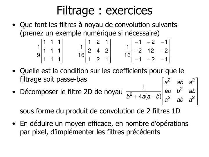 Filtrage : exercices
