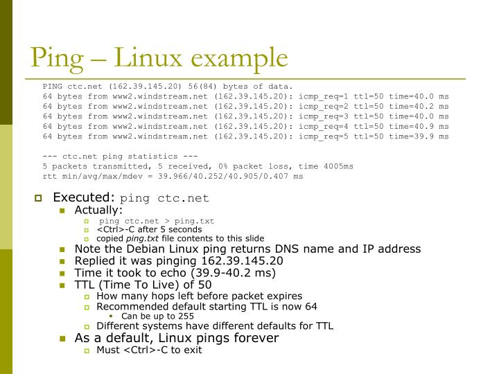 Ping – Linux example