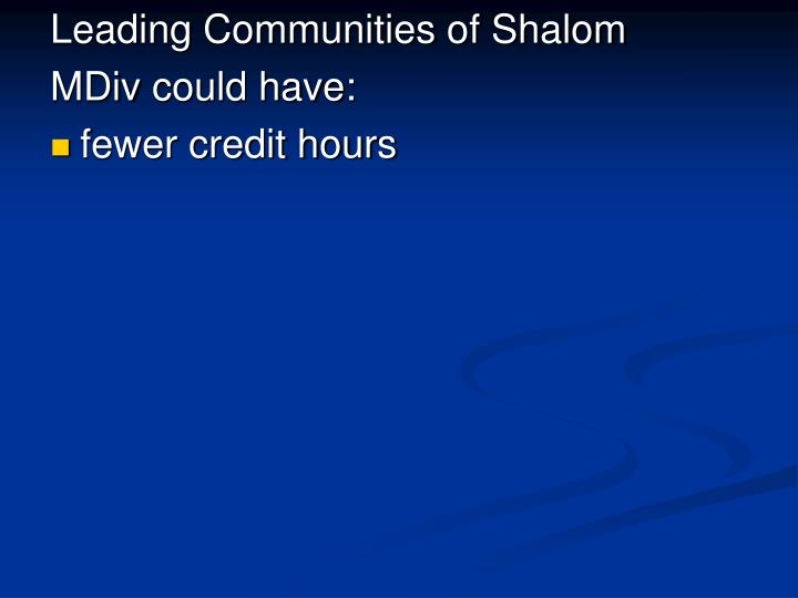 Leading Communities of Shalom