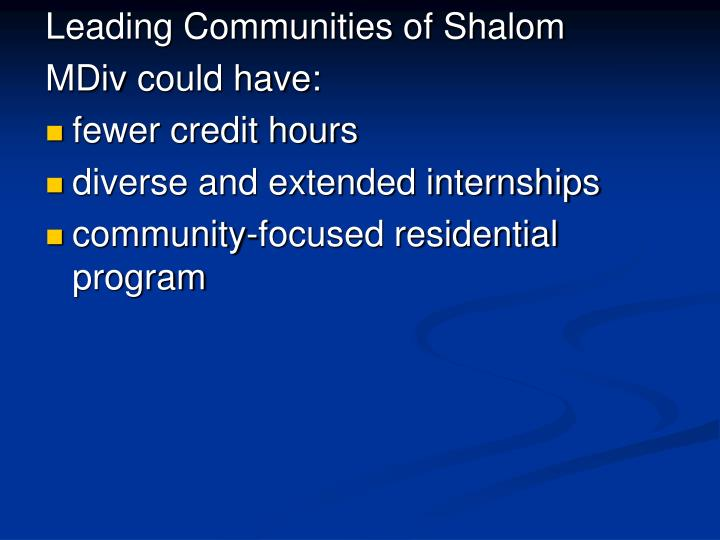 Leading Communities of Shalom