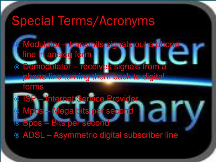 Special Terms/Acronyms