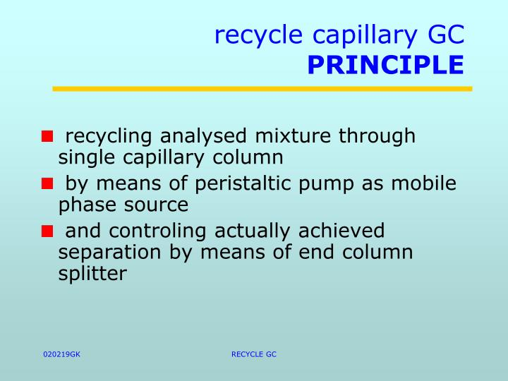 recycle capillary GC