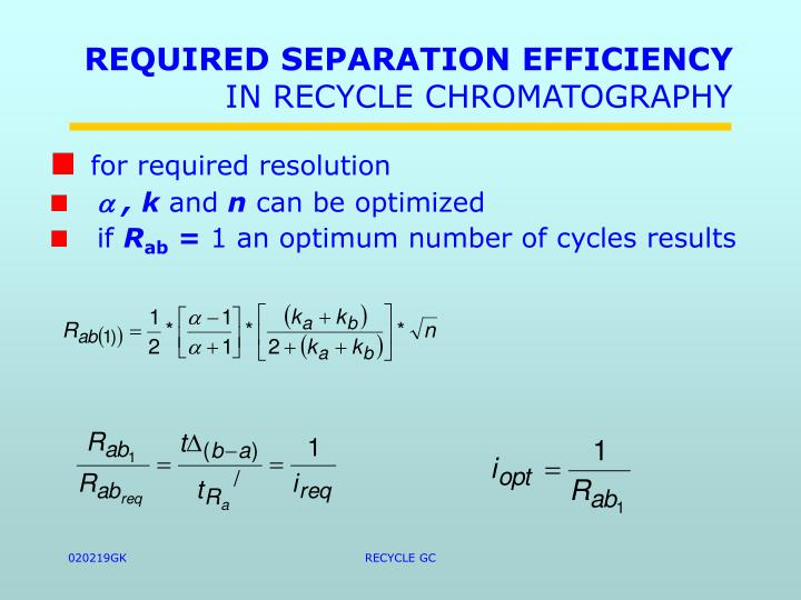 REQUIRED SEPARATION EFFICIENCY