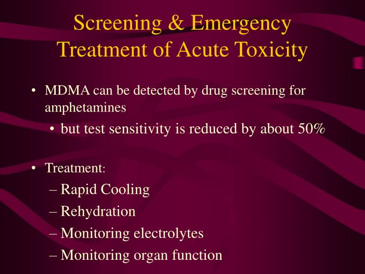 Screening & Emergency Treatment of Acute Toxicity