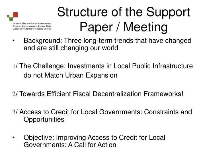 Structure of the support paper meeting