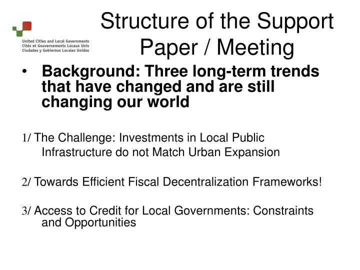 Structure of the support paper meeting1