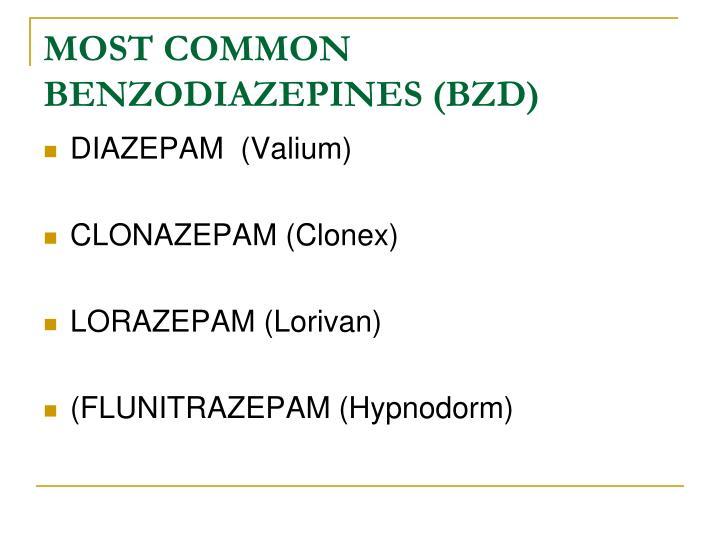 MOST COMMON BENZODIAZEPINES (BZD)