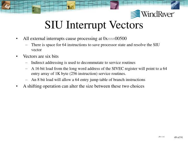 SIU Interrupt Vectors