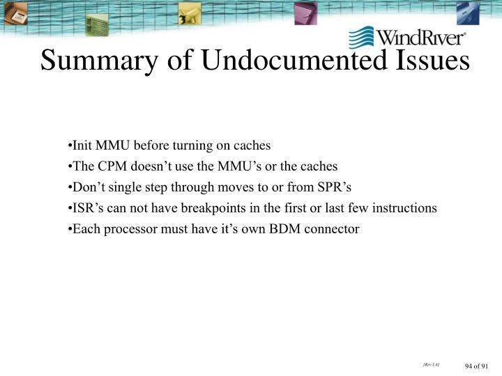Summary of Undocumented Issues