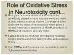 role of oxidative stress in neurotoxicity cont
