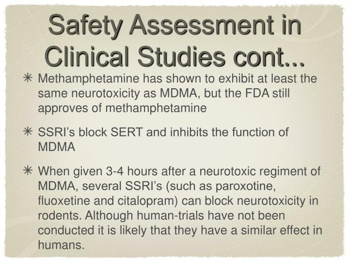 Safety Assessment in Clinical Studies cont...