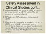 safety assessment in clinical studies cont