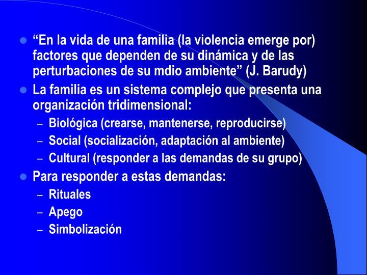 """""""En la vida de una familia (la violencia emerge por) factores que dependen de su dinámica y de las perturbaciones de su mdio ambiente"""" (J. Barudy)"""