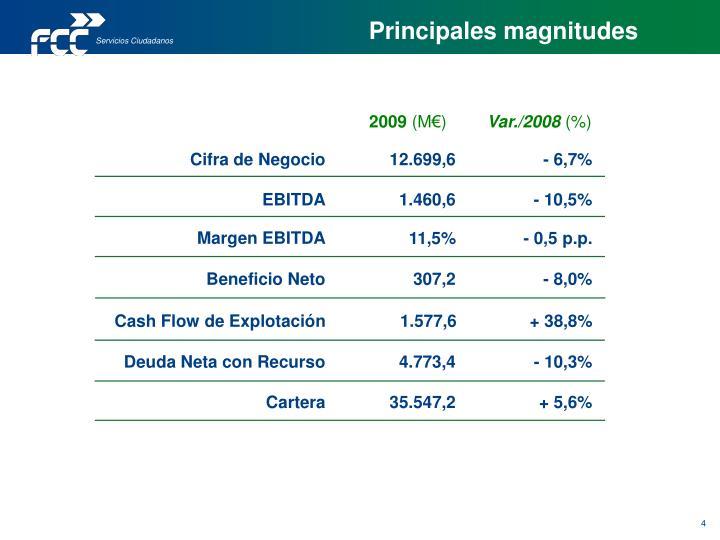 Principales magnitudes