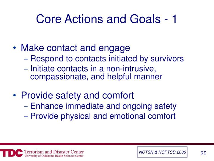 Core Actions and Goals - 1