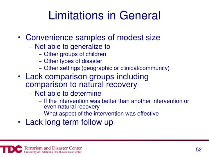 Limitations in General