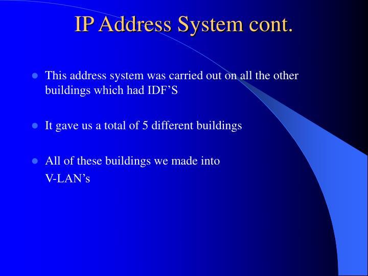 IP Address System cont.