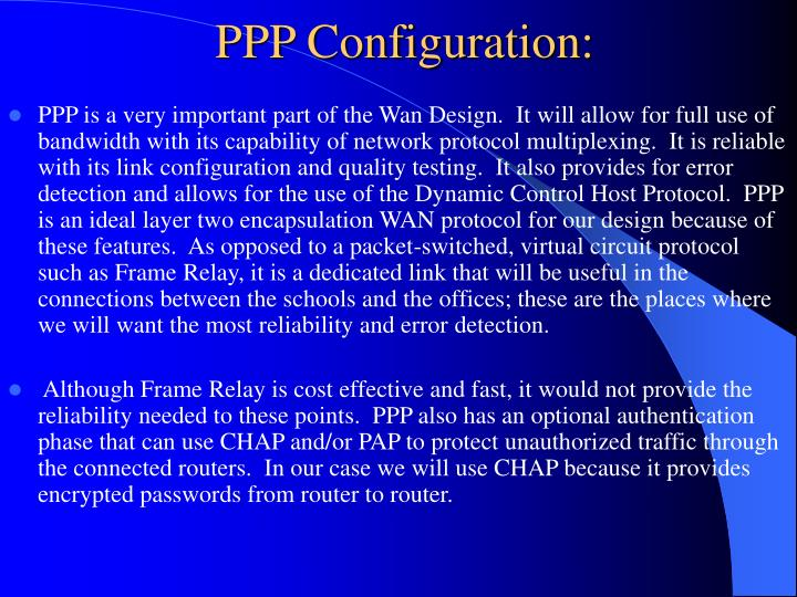 PPP Configuration: