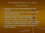 possible reasons for low participation