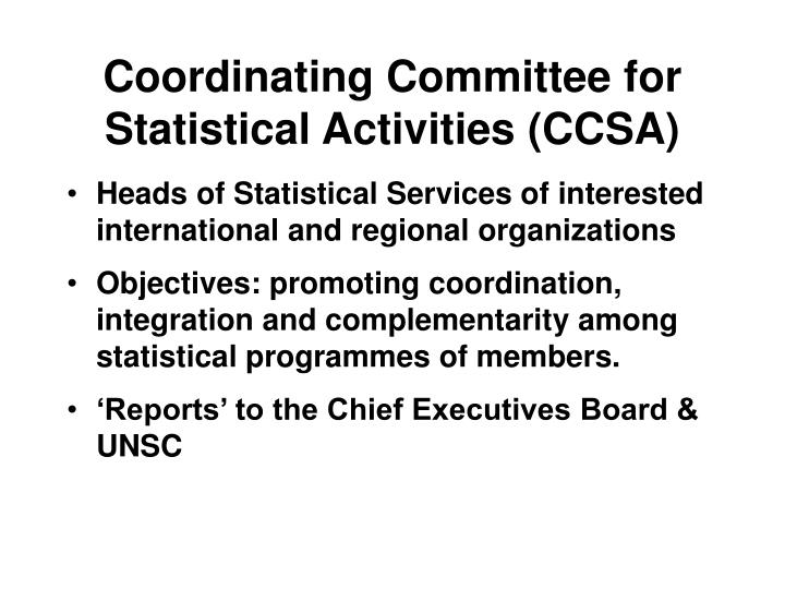 Coordinating Committee for Statistical Activities (CCSA)