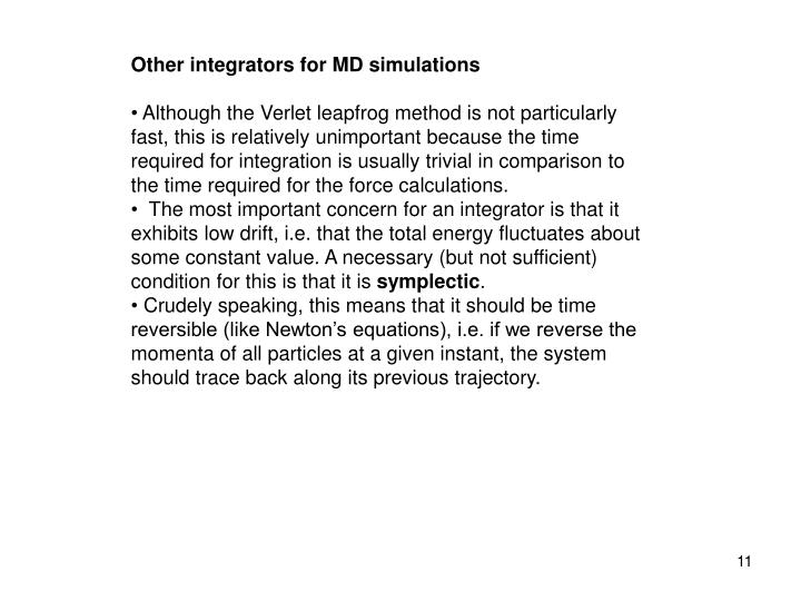 Other integrators for MD simulations
