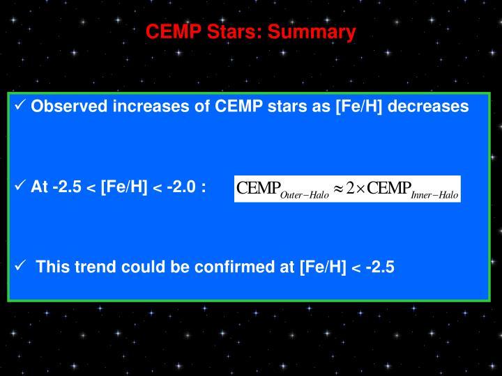 CEMP Stars: Summary
