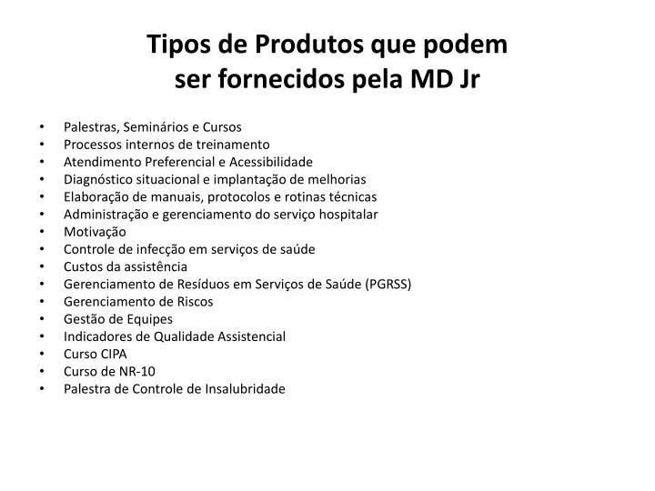 Tipos de Produtos que podem