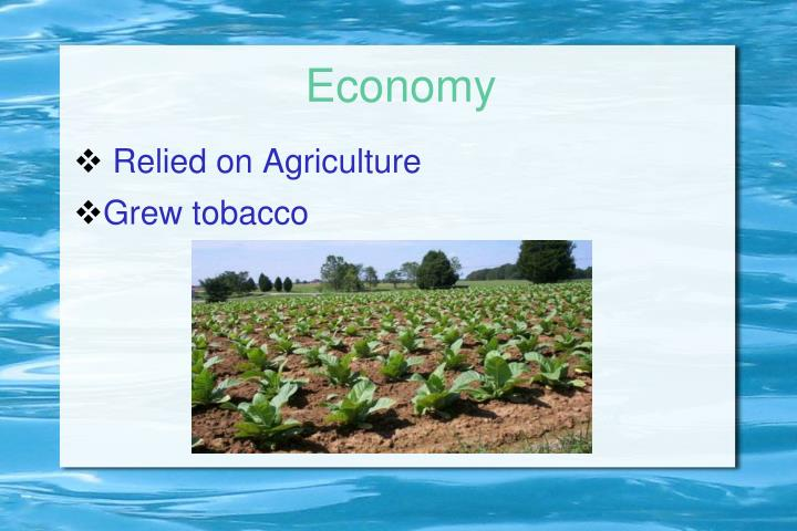 Relied on Agriculture