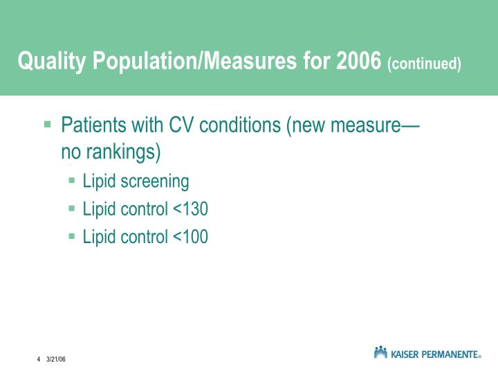 Quality Population/Measures for 2006