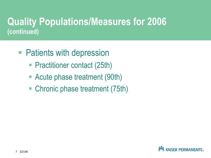 Quality Populations/Measures for 2006