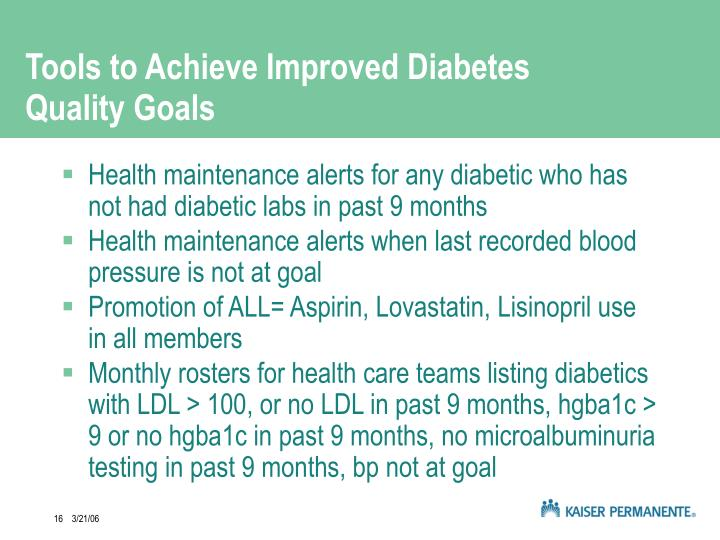 Tools to Achieve Improved Diabetes