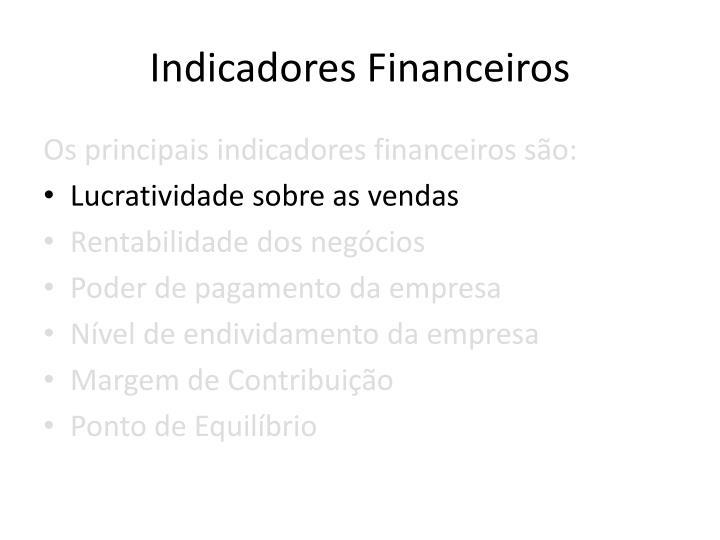 Indicadores Financeiros