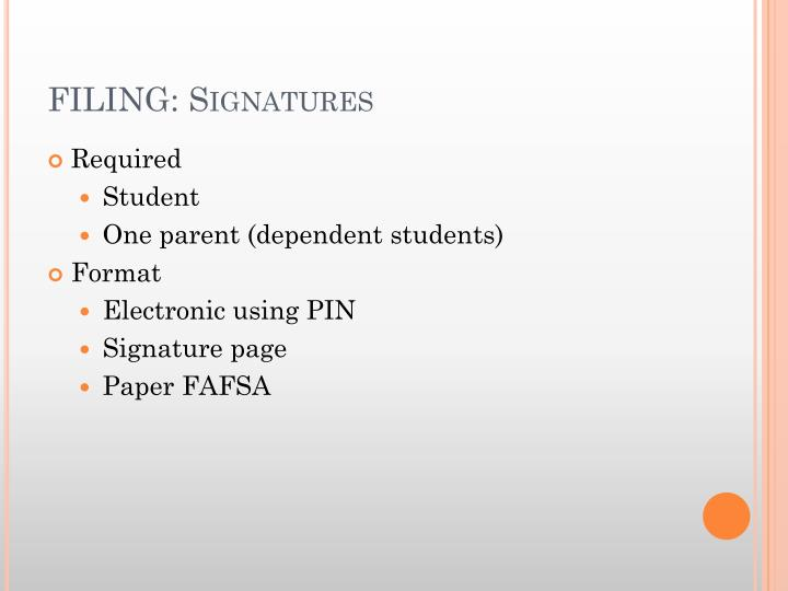 FILING: Signatures