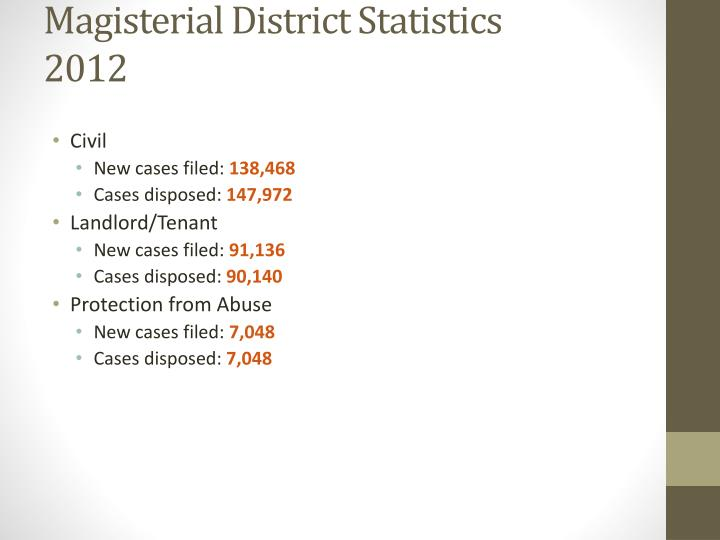 Magisterial District Statistics