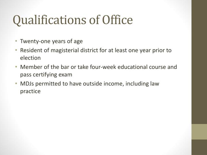 Qualifications of Office