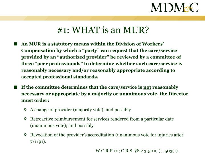 #1: WHAT is an MUR?