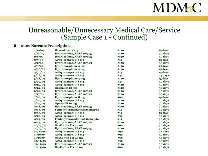 Unreasonable/Unnecessary Medical Care/Service