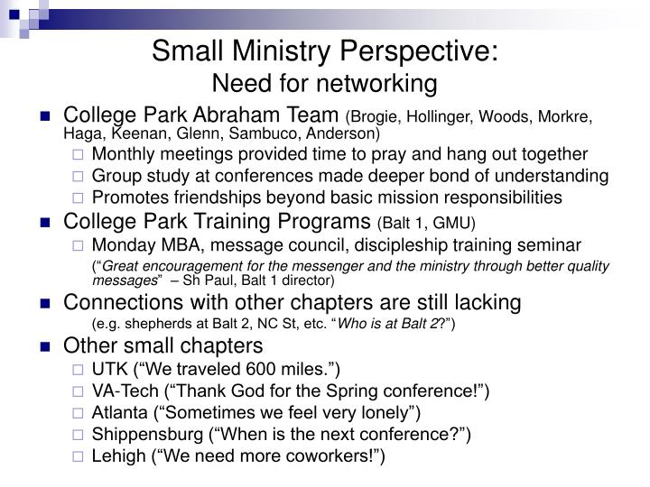 Small Ministry Perspective: