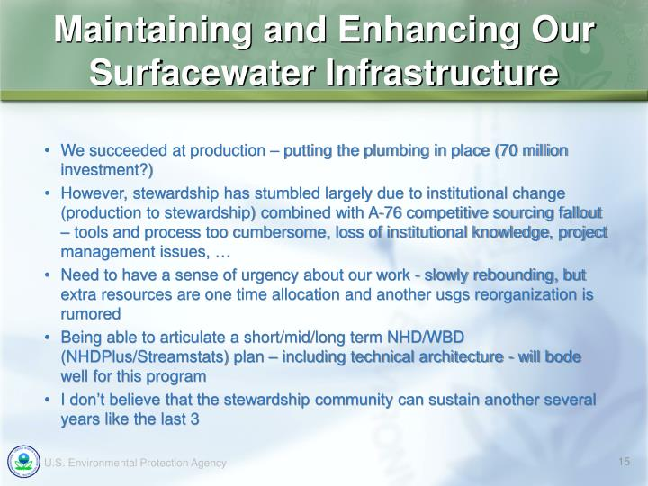 Maintaining and Enhancing Our Surfacewater Infrastructure