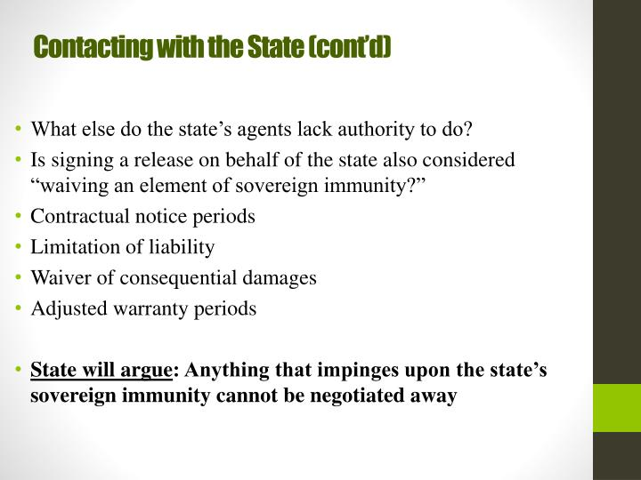 Contacting with the State (cont'd)