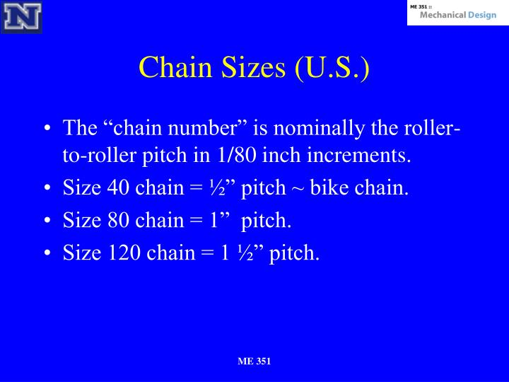 Chain Sizes (U.S.)