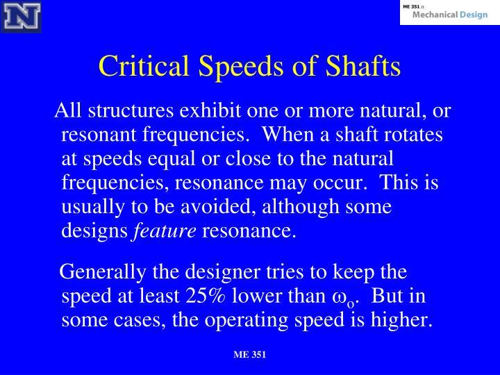 Critical Speeds of Shafts
