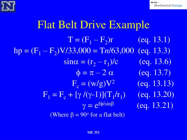 Flat Belt Drive Example
