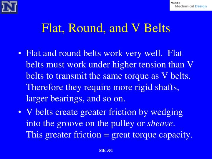 Flat, Round, and V Belts