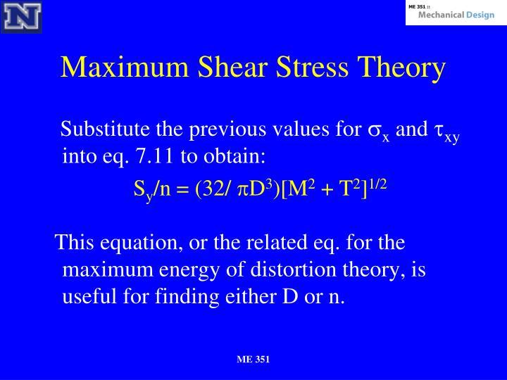 Maximum Shear Stress Theory