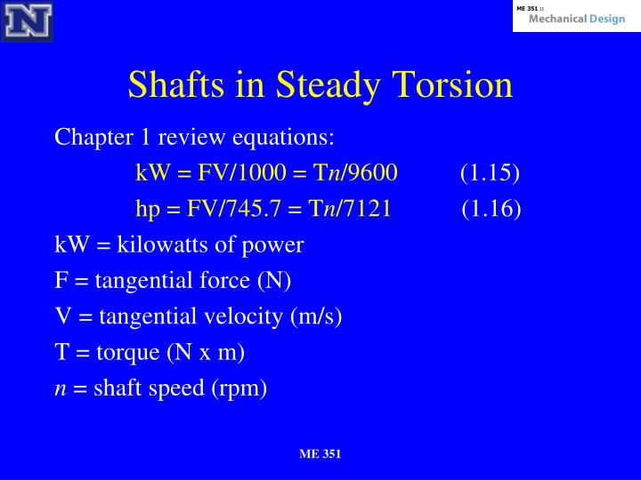 Shafts in Steady Torsion