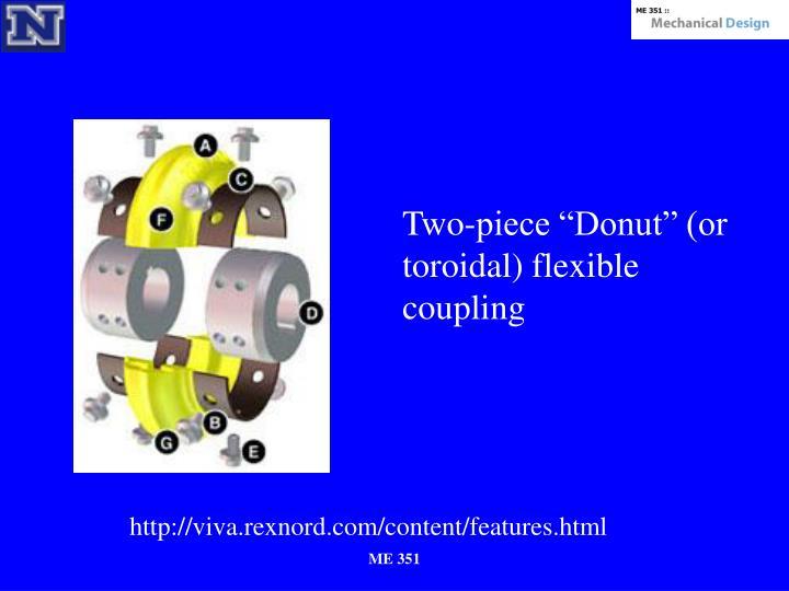 "Two-piece ""Donut"" (or toroidal) flexible coupling"