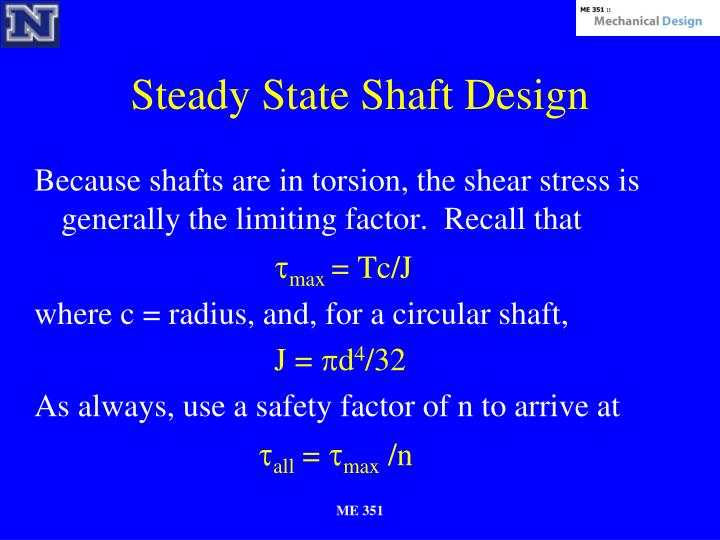 Steady State Shaft Design